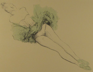 Messina-Ballerina col tutu verde, sdraiata